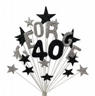 Alpha age 40th birthday cake topper decoration in silver and black - free postage